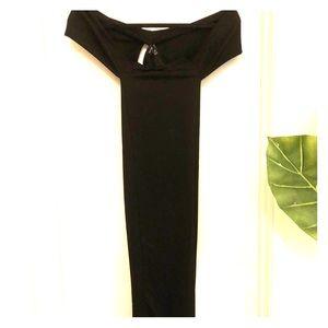 PrettyLittleThing Black Off-Shoulder Midi Dress 4